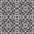 Black lace on white, seamless pattern