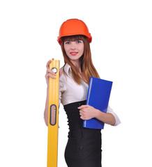 девушка в каске и с строительной линейкой, белый фон