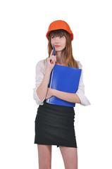 девушка - архитектор, стройка