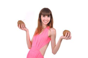 девушка с кокосами, отпуск