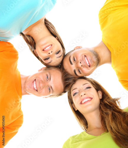 Happy group of beautiful young people, isolated on white
