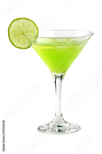 cocktail with a slice of lime