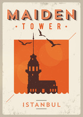 Vintage Maiden Tower Istanbul Poster