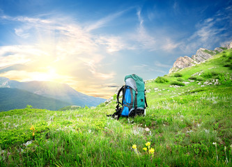 Backpack in mountains