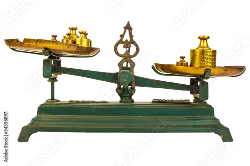 Vintage green weight balance scale isolated on white