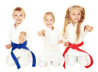 Young children sit in a ceremonial  karate pose and hit a arm