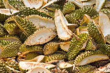 stack of peeled durian