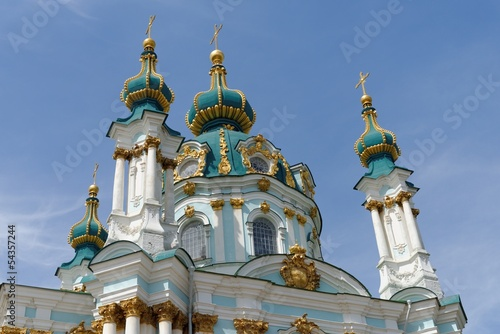 Domes of the Saint Andrew Orthodox Church in Kiev, Ukraine
