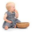 Farmer girl and empty wicker dish with place for your product.