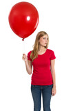 Female with blank red shirt and balloon