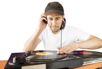 DJ mixing white background