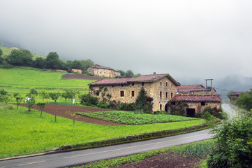 typical basque architecture near a road