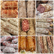 traditional sausage collage, images from italian farmer markets