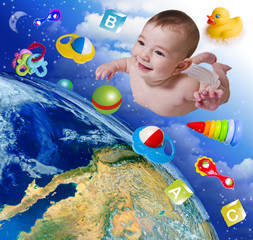 Flying baby on earth background