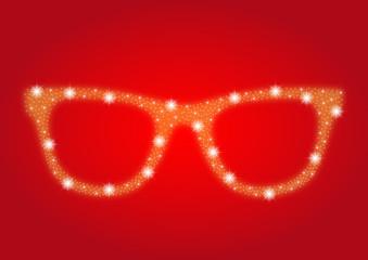Weihnachtliche Nerdbrille aus Sternen auf rotem Hintergrund