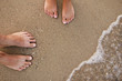loving couple feet in the sand