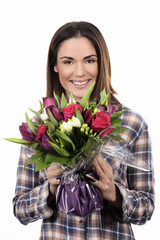 smiling girl with bouquet