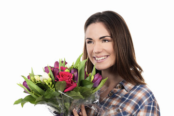 smiling woman with bouquet