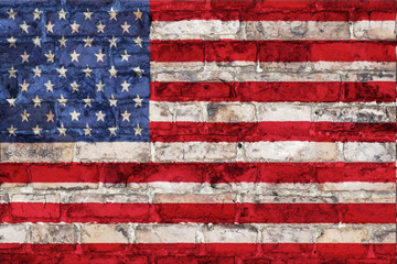 american flag graphic on a brick background