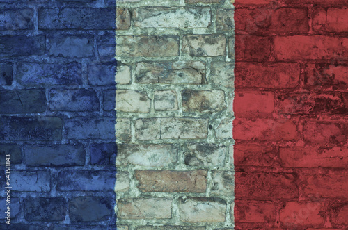 flag on France graphic on a brick background