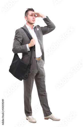 Full body portrait of young happy silming cheerful business man
