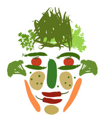 male face made of vegetables