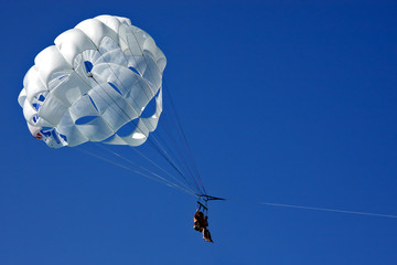 white   parachute and sky