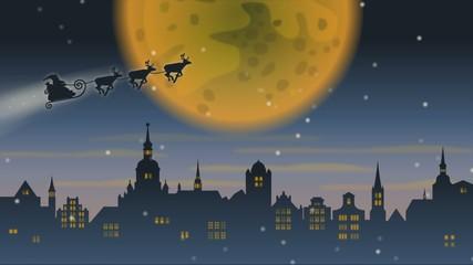 Weihnachtsmann mit Rentierschlitten über Stadt vor großem Mond