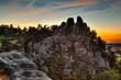 canvas print picture - Teufelsmauer Harz bei Blankenburg im Sonnenuntergang