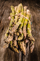 Asparagus on a wooden table