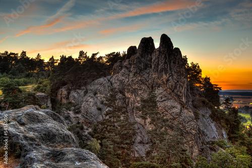 canvas print picture Teufelsmauer Harz bei Blankenburg im Sonnenuntergang