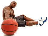 Attractive black 30s man with basket ball. Clipping path. poster