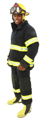 Attractive black middle aged man in fire fighter's uniform with