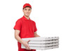 Pizza man. Cheerful young deliveryman holding a pizza box while