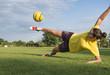 Girl kick soccer ball