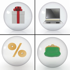 set of objects for shopping on the internet
