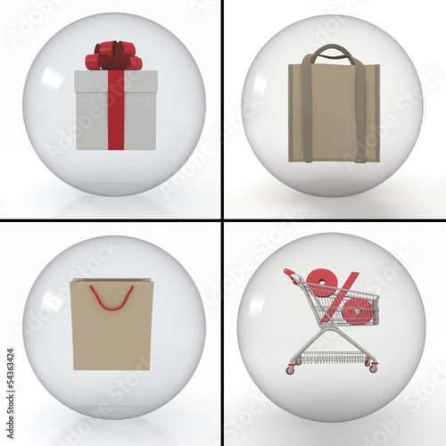 set of objects for shopping