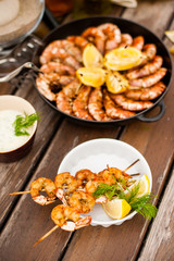 table with grilled seafood