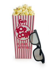 Cinema things, 3d glasses and popcorn basket