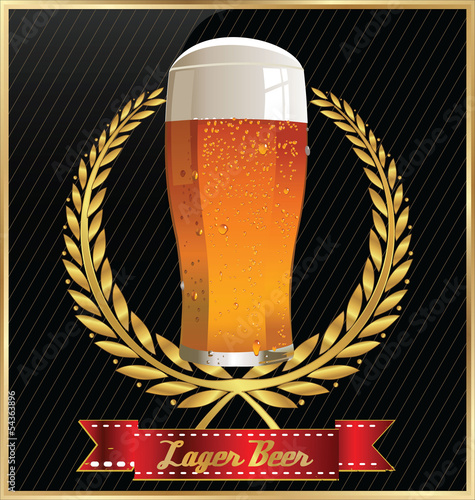 Beer design with laurel wreath and ribbon