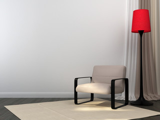 Chair with a red floor lamp