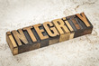 integrity word in wood type