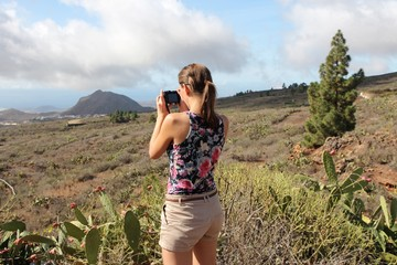 Taking vacation photos in Tenerife island, Spain