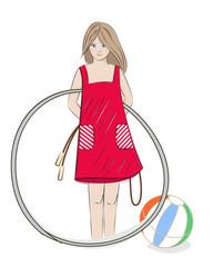 Girl with hula hoop, beach ball and skipping rope