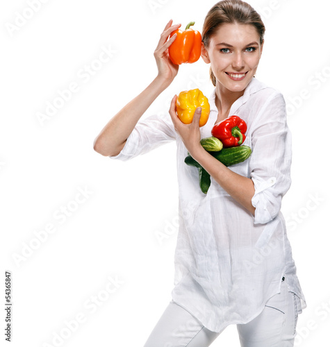 promo girl holds red and orange paprikas