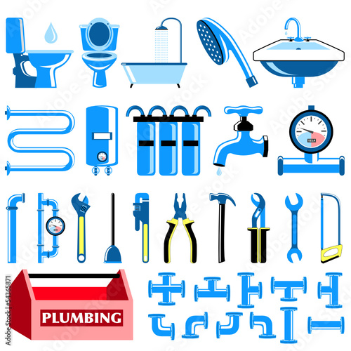 Plumbing colour icons set