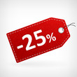 Red leather price labels twentyfive percent saleoff