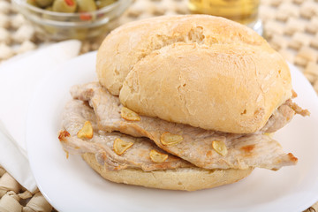 "traditional portuguese pork beef sandwich ""bifana"""