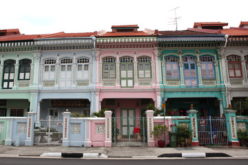 Singapore's historical landmark, colorful Peranakan houses