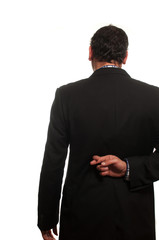 businessman incrociando le dita dietro le spalle